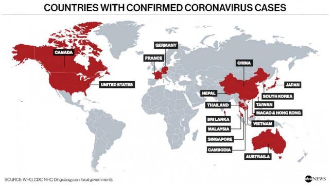 Страны с подтвержденными случаями коронавируса